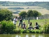Family fishing at Nettlecombe Farm Lakes Isle of Wight